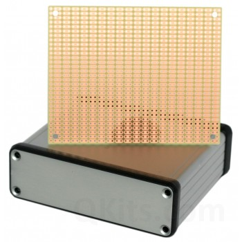 BOX2-1455L is an extruded aluminum enclosure for electronic projects, designed for BusBoard Prototype Systems Size 2 prototype PCB (100x80mm boards).