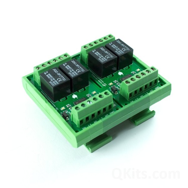 Four Channel 12vdc Relay Card On Din Rail Qkits