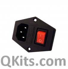 250V 10A Male AC Power Socket With Rocker Switch and Fuse Holder