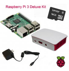 Raspberry Pi 3 Deluxe Kit Power Supply Enclosure 16GB Micro SC Card