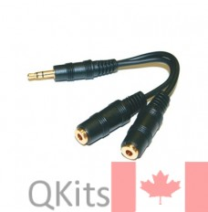 "3.5mm Stereo Plug to 2 x 3.5mm Stereo Jack - Gold, 5"" Y Cable"