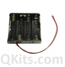 AA Battery Holder - 4 Cells, Wire Leads