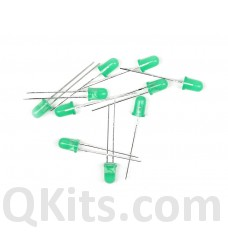 5mm Green diffused LED 10 piece pack