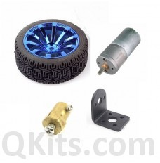 Blue wheel set for arduino motor, gear reduction, bracket, hub, 6VDC motor