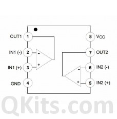 LM358NFS High-performance, dual operational amplifier pinout