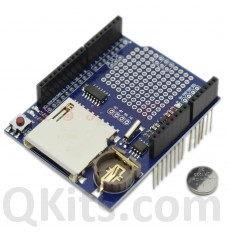 Arduino data logger shield image, SD card holder and RTC with battery
